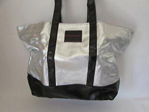 Victoria's Secret Black & Metallic Silver Large Zippered Tote Bag Weekender Gym