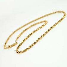 Heavy 14K Gold Wheat Chain Necklace 2.4 mm 16 inch 10.3g Yellow Gold Spiga 14Kt