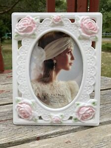Elsa L 5x7 Round Oval Photo Picture Frame White Ceramic Wedding Rose Floral