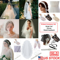 Bridal Wedding Accessory Sets Bride Veil Elegant Gloves Waistband Headband Party