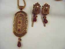 From India gold tone necklace & earrings faux pearls amber R/S & bead dangles