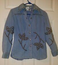 Dotti Didit Denim Jacket Hippie Nailhead Stud Vtg Retro 60's/70's Women's Size 8