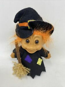 """Halloween Troll Doll By Russ! 4"""" Orange Hair Brown Eyes! Dressed As A Witch!"""