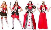 Ladies Alice In Wonderland Mad Hatter Queen Of Hearts Costume Fancy Dress