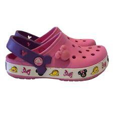 New listing Disney Crocs Minnie Mouse Light Up Girls 10-11 Pink Purple Shoes Slip On