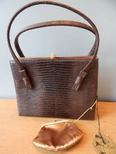 Vintage After Five Cocktail Lowy Mund HandBag 50s Brown Gator Reptile Purse Coin