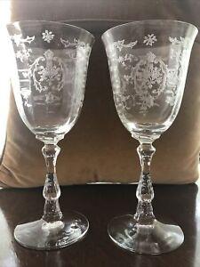 Fostoria Navarre Set of 2 Etched Elegant Water/Wine Glasses