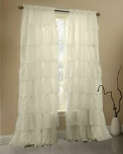 White Full Length Ruffled Curtains Drapes Country Chic Country Modern Set Of 2 S