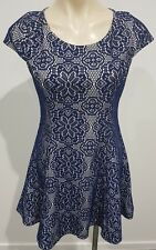 Valleygirl Womens Navy Lace Cap Sleeve A Line Party Races Dress Size M