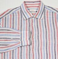 BRIONI Recent Blue/Red/White Striped 100% Linen L/S Button-Up Dress Shirt V / XL