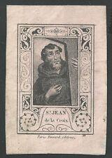 Estampa grabado de San Juan de la Cruz andachtsbild santino holy card