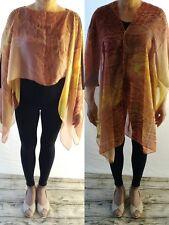 Women 100% Sheer Silk Chiffon Kaftan Dress Top Yellow Snake Free Size Sleeveles