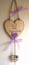 Birthday 40th Wooden Heart Friend Plaque Shabby chic Bespoke add name Beautiful