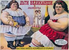 Old Print.  Circus Sideshow Freaks - 2 Fat Women