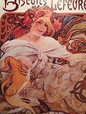 Alphonse Mucha Art Nouveau Poster Biscuits Lefevre-Utile b