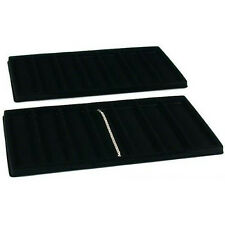 NEW 2 Black 7 Compartment Watch Pendant Jewelry Showcase Display Tray Inserts
