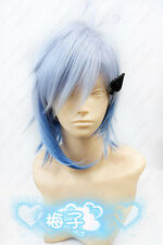 171G Amnesia IKKI Cosplay Short Blue mix Wig and Costume Spades Headwear