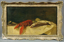 """19th Cen. """"Lobster/Fish"""" Still-Life, attributed to Frederick Whitehead (BRITISH)"""