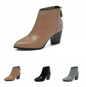 Women Chelsea Pointy Toe Block Mid Heel Solid Outdoor Ankle Boots Casual Pumps D