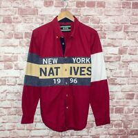 KITH Men's New York Natives Button Down Shirt Red with Big Stripes Sz Medium
