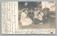 Hammock Family w Early CAMERA Photo RPPC Antique QUEBEC Postcard CPA 1910