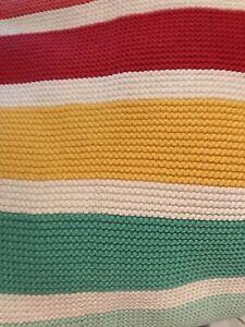 BNWT Next Rainbow Stripe Knitted Newborn Baby Blanket RRP £19