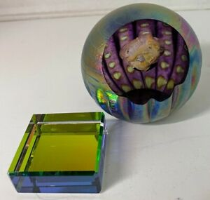GLASS EYE STUDIO CELESTIAL JUNO ASTEROID PAPERWEIGHT 2007 w/ Stand 3.25 Inch