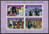 Chad 2019 CTO Prince Harry & Meghan Africa Tour 4v M/S II Royalty Stamps