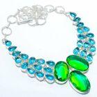 "Bi-Color Tourmaline, Blue Topaz Silver Jewelry Necklace 18"" MQR-3061"
