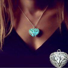 Collier Femme,Grand Coeur Turquoise-Azur,Bleu,Phosphorescent,Acier Argent,Zircon