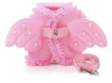Angel wing dog harness and leash pink size Small