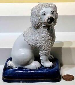 Staffordshire Poodle Dog Figurine, Cobalt Base, c. 19th Century