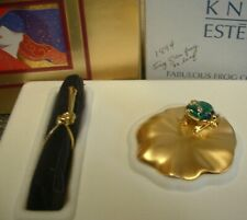 """Estee Lauder Solid Perfume Compact """"Faublous Frog"""" MIB"""