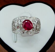 Vivid red Ruby Diamond Ring set with 18K white Gold