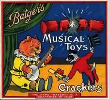 "ORIGINAL BATGER'S CRACKERS BOX TOP LABEL  ""MUSICAL TOYS""  1930s"