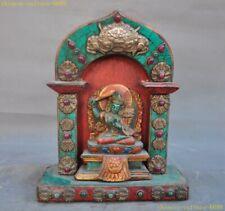 Tibet wood Inlay bronze turquoise gem Hold Sword Manjushri Fokan niche Shrines
