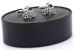 NOVELTY BICYCLE CYCLE BIKE RIDER CYCLIST CUFF LINKS CHRISTMAS GIFT BNIB NEW UK