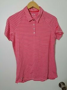 1 NWT ADIDAS WOMEN'S POLO, SIZE: MEDIUM, COLOR: PINK/CORAL STRIPED (J76)