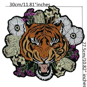 X Large Frida Kahlo Flowers Tiger Tigress Embroidered Sew / Iron On Jacket Patch
