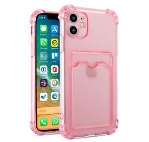 Clear Soft Silicone Gel Case For iPhone 13 12 11 Pro Max Card Holder Shockproof