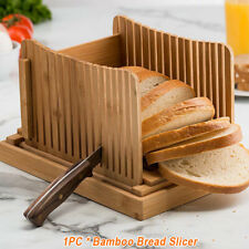 Foldable Bamboo Bread Slicer Cutter Mold Toast Loaf Cutting Slicing Maker Guide