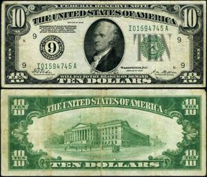 FR. 2000 I $10 1928 Federal Reserve Note Minneapolis I-A Block VF