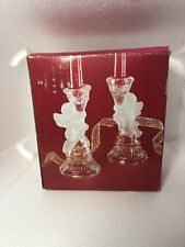 Angel Cherub Clear Glass Candle Holder Taper Pair Two Lovely Holiday Decor Vtg 00004000