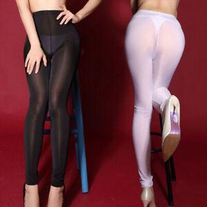 Plus Size Sexy Damen Transparent Sheer Lange Pants Hose Glänzend Skinny Leggings