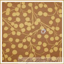 BonEful Fabric FQ Cotton Quilt VTG Brown Dot Chestnut Tree Branch Mustard Flower