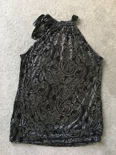 NEXT Sparkly Sleeveless Shoulderless Black Silver Top With Tie Neck - Size 16