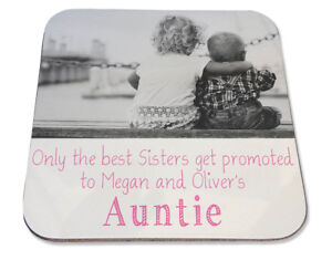 Personalised Printed Coaster Sisters promoted Auntie Birthday photo gift