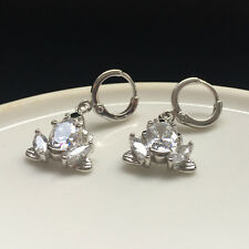 Frog Shape Cz Cubic Zirconia Dangle Drop Hoop Silver Earrings Birthday Gift