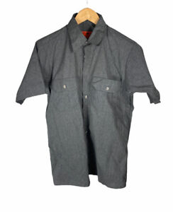 New Vintage Red Kap Gray Size M Short Sleeve Button Up Free US Shipping