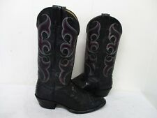 Nocona Black Snakeskin Leather Cowboy Boots Mens Size 8 D Style 4317C USA